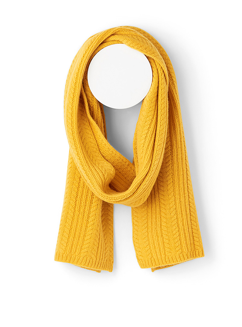 Simons Yellow Pure wool cable knit scarf for women