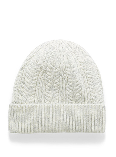 Simons Light Grey Pure wool knit tuque for women