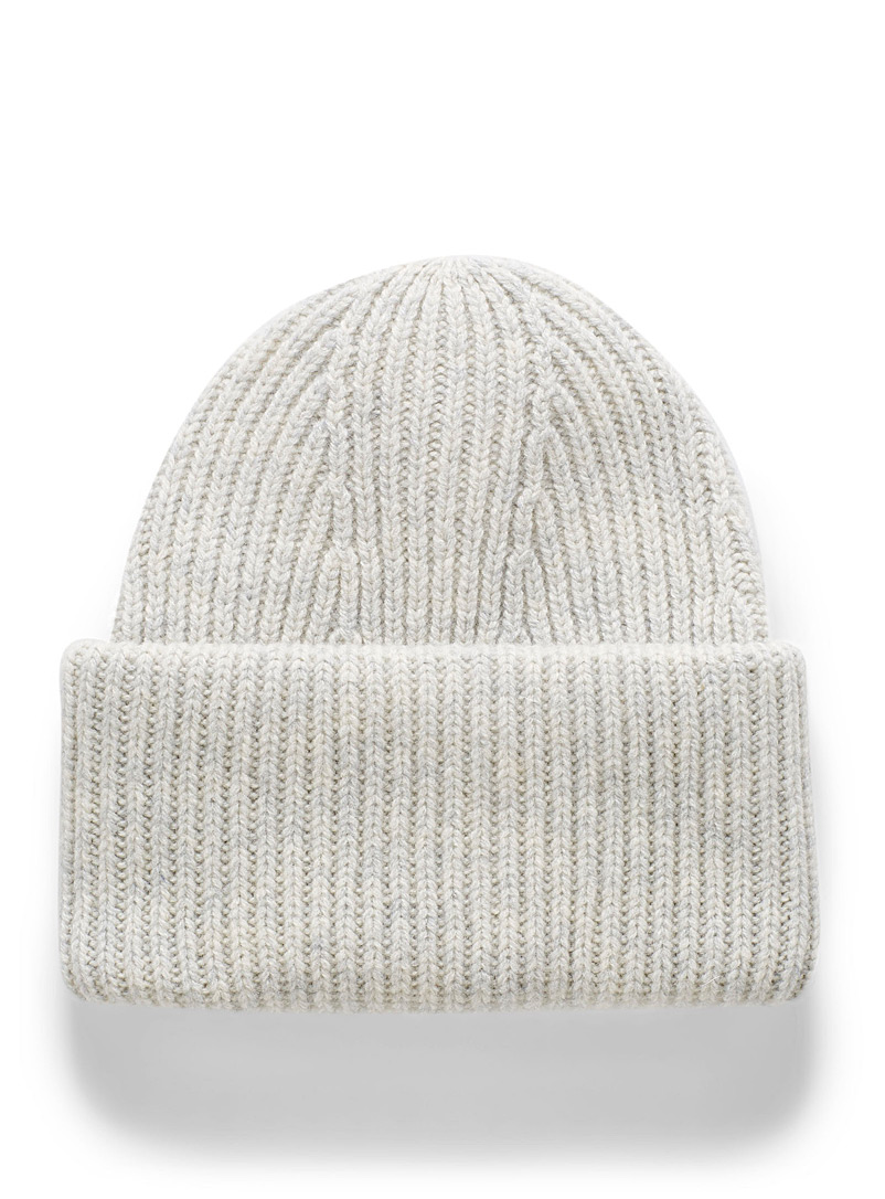 Simons Light Grey Pure wool XL-cuff tuque for women