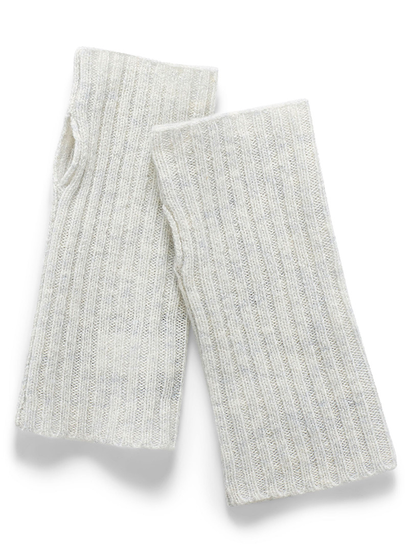Simons Light Grey Lambswool wrist warmers for women