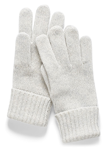 Simons Light Grey Colourful pure wool gloves for women