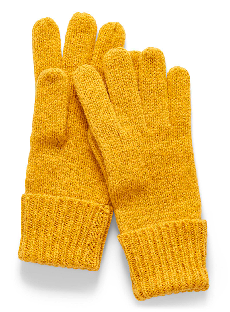 Simons Yellow Colourful pure wool gloves for women