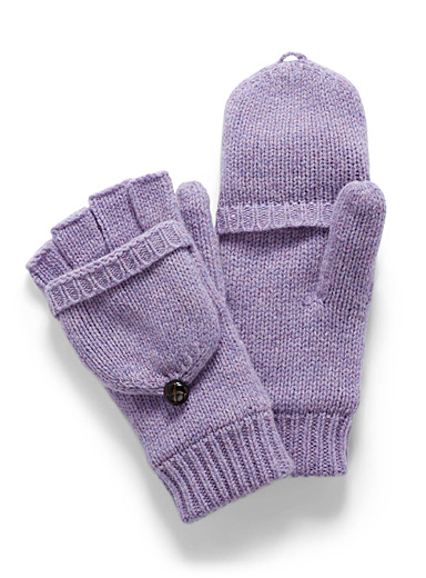 Simons Purple Essential flip-top gloves for women