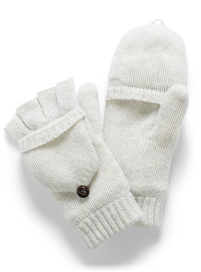 Simons Light Grey Essential flip-top gloves for women