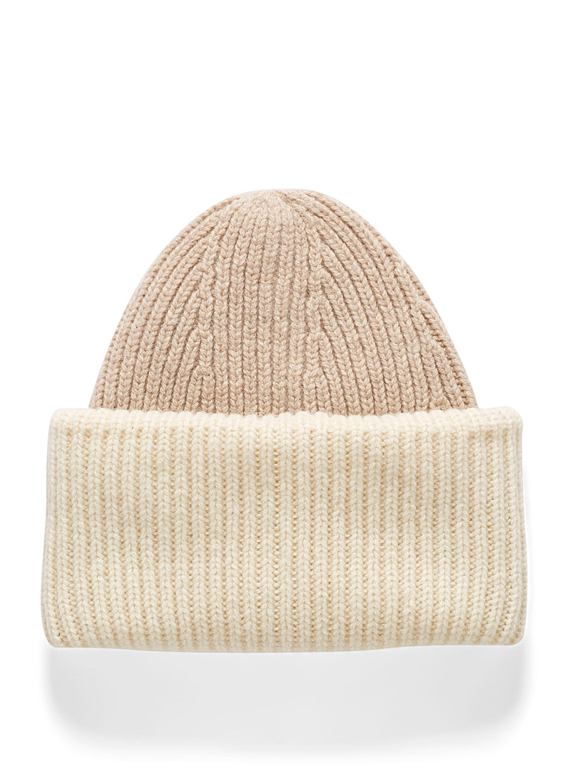 Simons Baby Blue Two-tone XL-cuff tuque for women