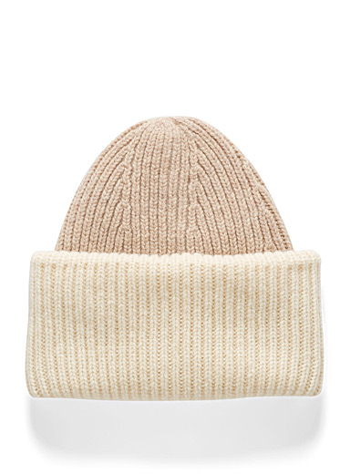Simons Honey Two-tone XL cuff tuque for women