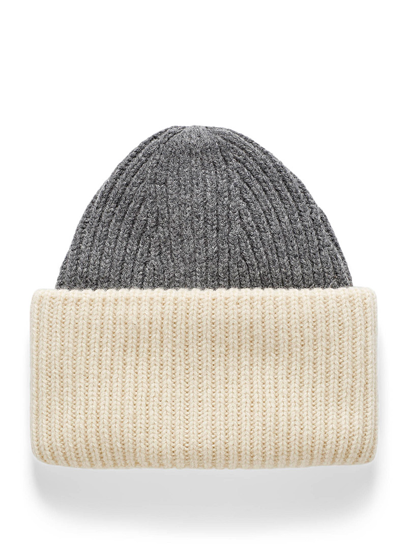 Simons Assorted grey  Two-tone XL cuff tuque for women