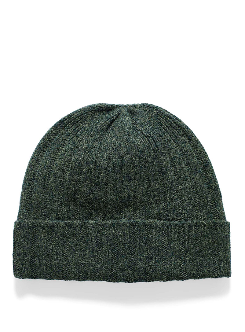 Le 31 Mossy Green Lambswool ribbed tuque for men