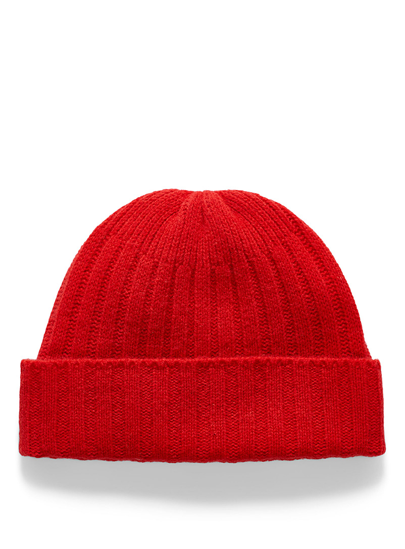 Le 31 Red Ribbed lambswool tuque for men