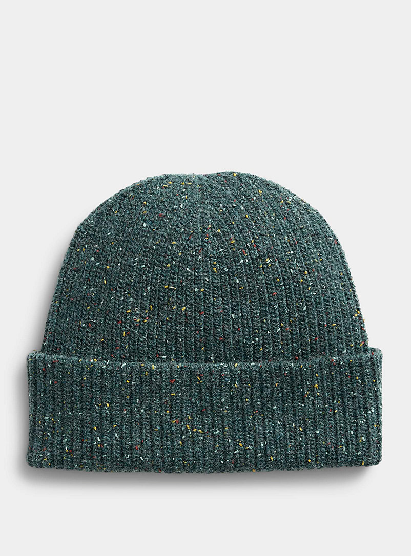 Simons Teal Donegal-style wool tuque for women