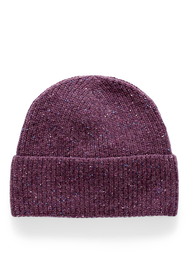 Simons Cream Beige Donegal-style wool tuque for women