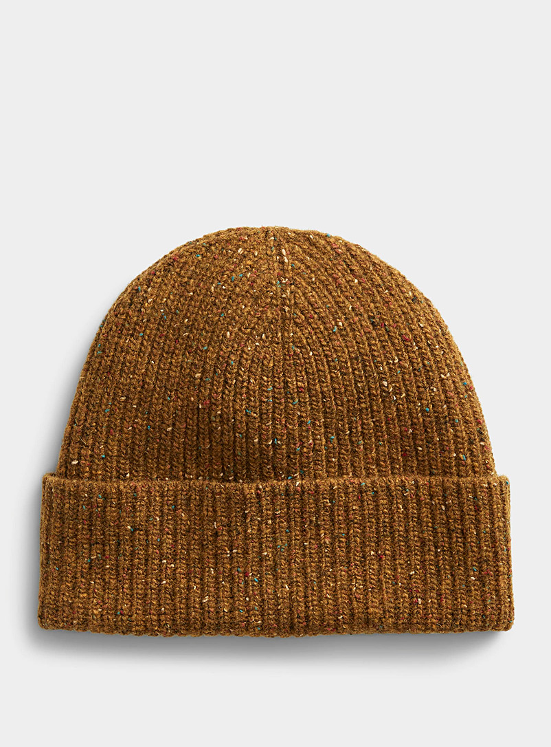 Simons Dark Yellow  Donegal-style wool tuque for women