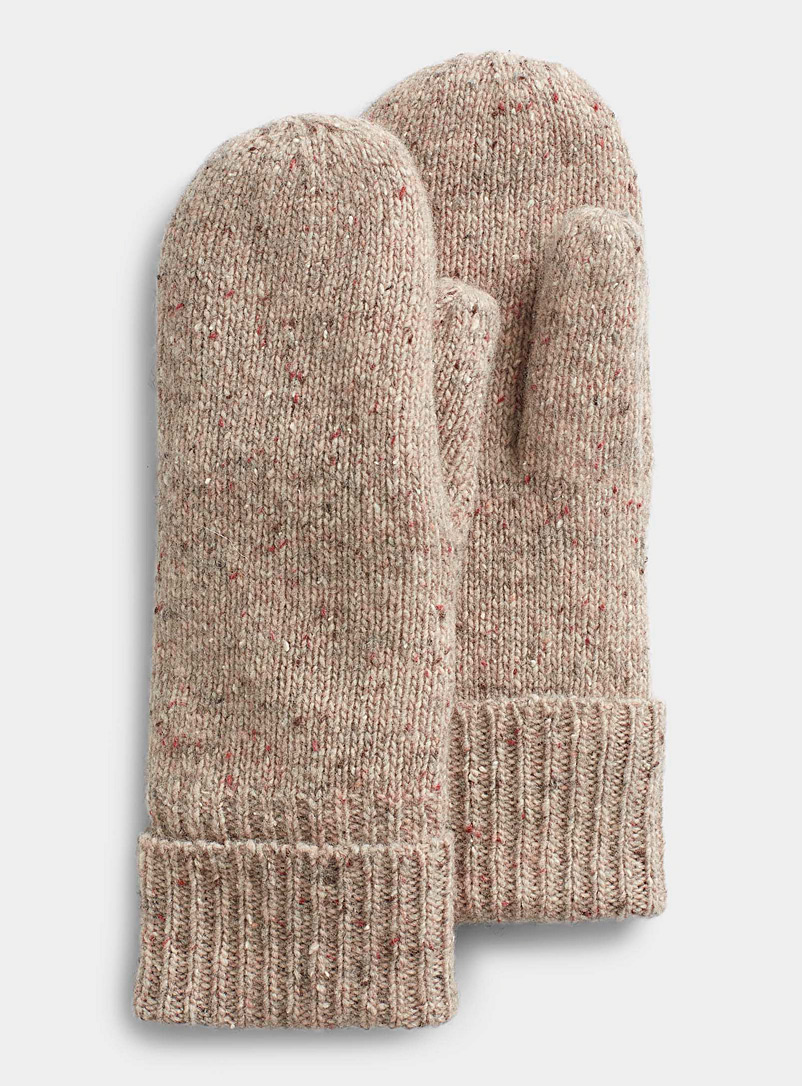 Simons Cream Beige Donegal-style wool mittens for women