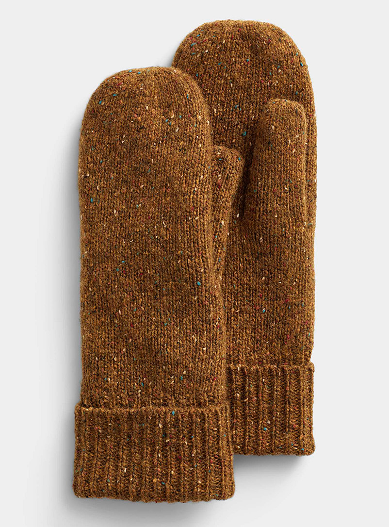 Simons Golden Yellow Donegal-style wool mittens for women