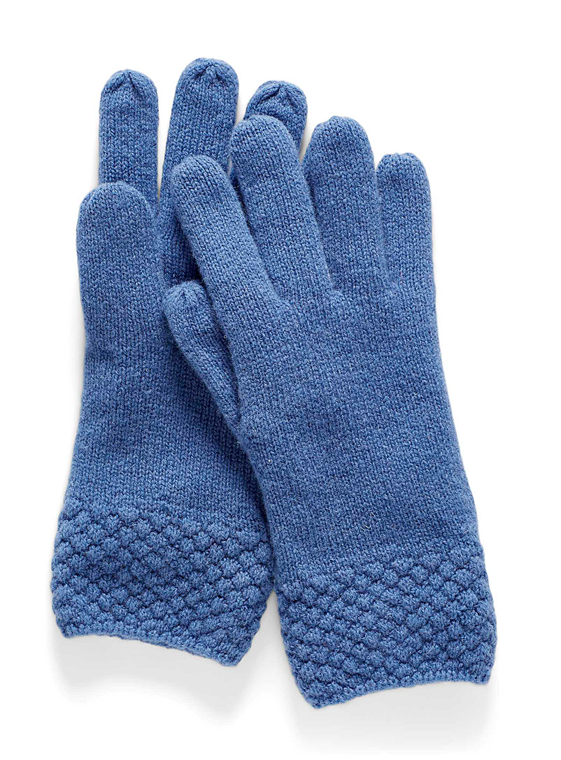 Simons Dark Blue Bubble-stitch cuff lambswool gloves for women