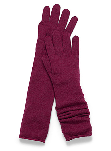 Long merino wool gloves