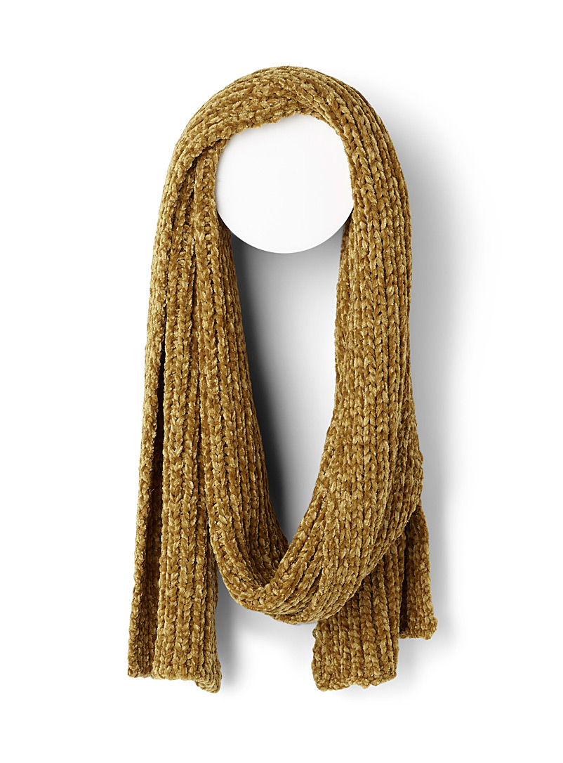 Simons Golden Yellow Chenille-knit scarf for women