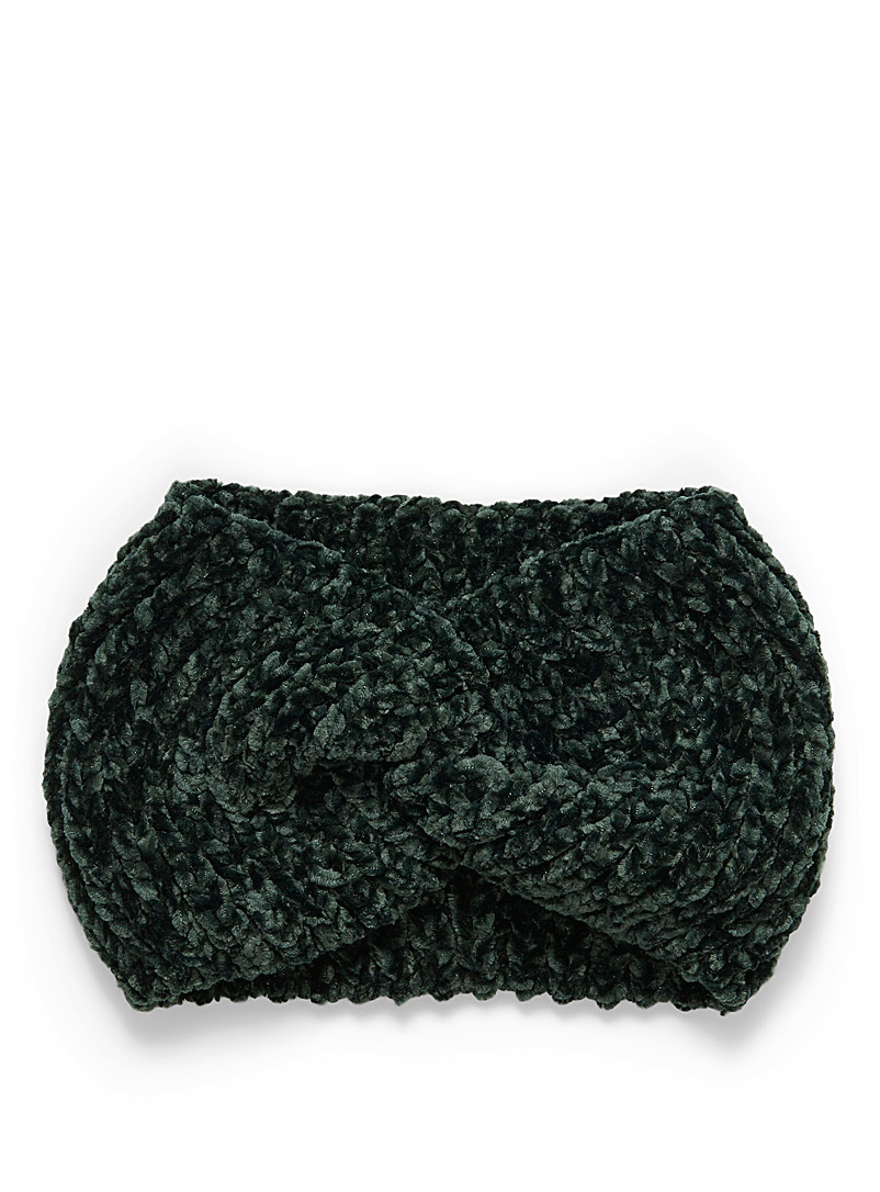 Twisted chenille knit headband - Head Wraps - Green