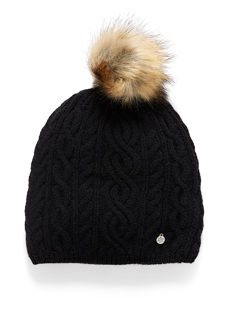 Simons Black Cashmere touch knit tuque for women