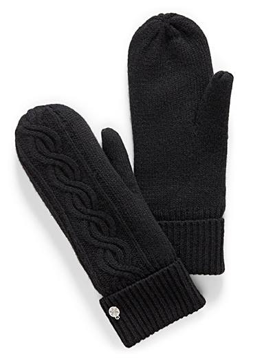 Cashmere touch knit mittens
