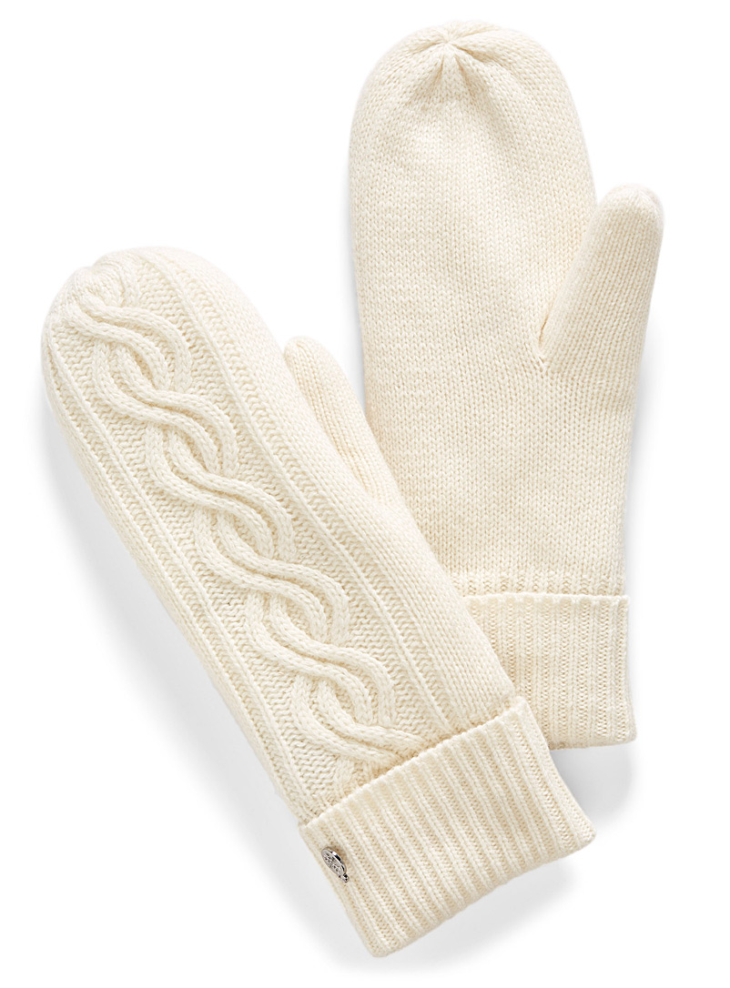 Simons Ivory White Cashmere touch knit mittens for women