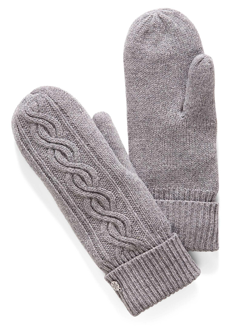 Simons Silver Cashmere touch knit mittens for women