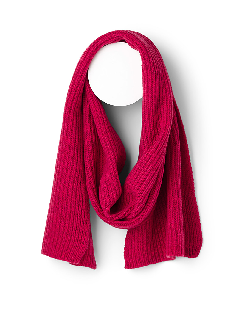 Simons Bright Red Vibrant pure wool knit scarf for women