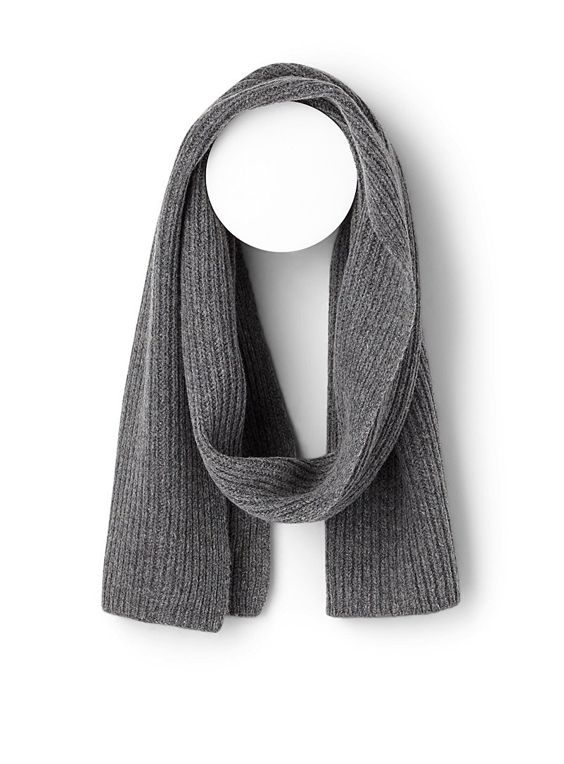 Simons Silver Vibrant pure wool knit scarf for women