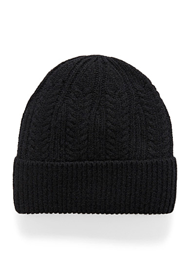 Simons Black Vibrant pure wool knit tuque for women