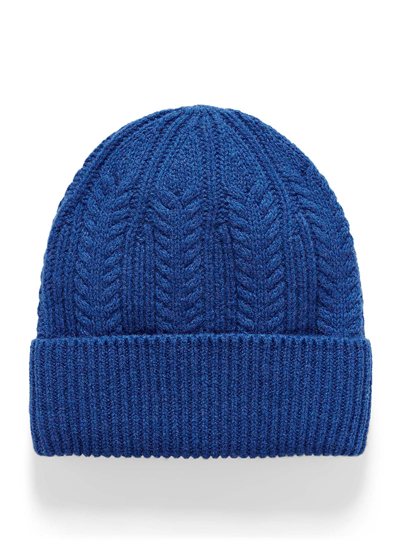 La tuque couleur vive tricot pure laine - Lainages - Bleu royal-saphir