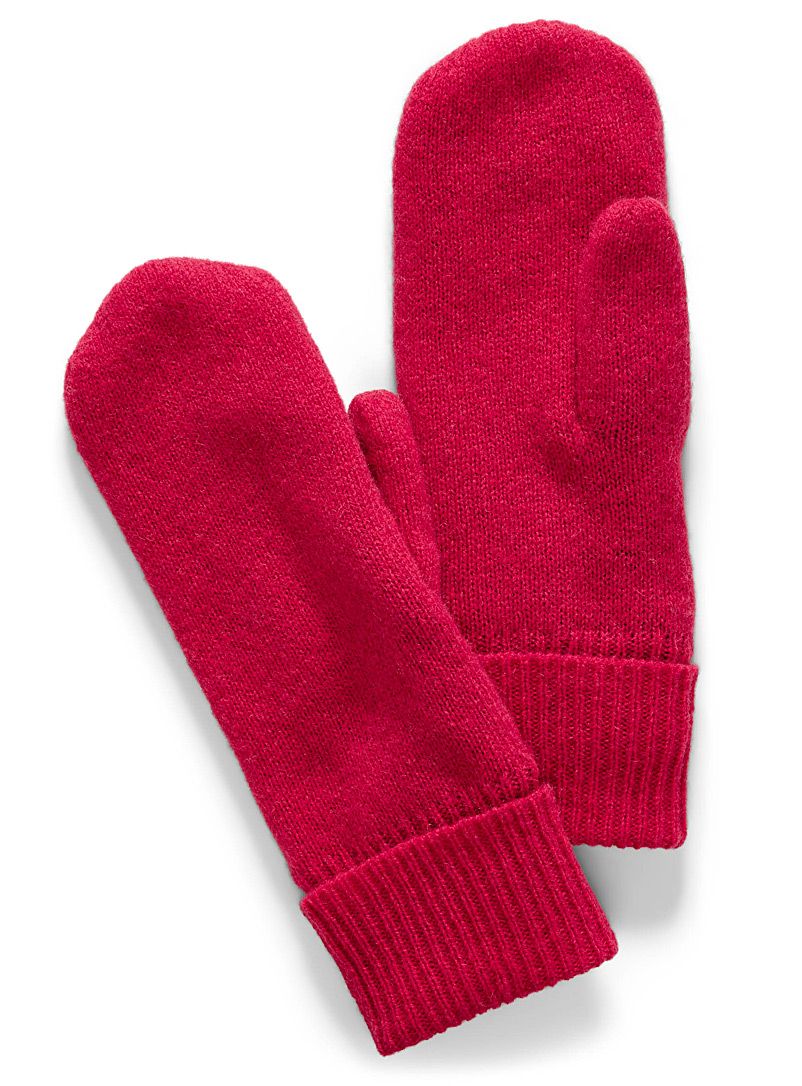 Vibrant pure wool knit mittens - Mittens - Bright Red