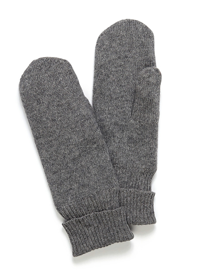 Vibrant pure wool knit mittens - Mittens - Silver