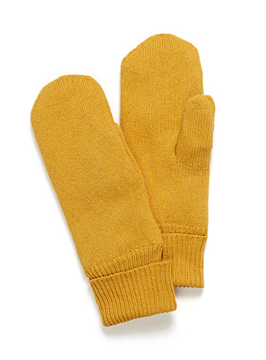 Vibrant pure wool knit mittens