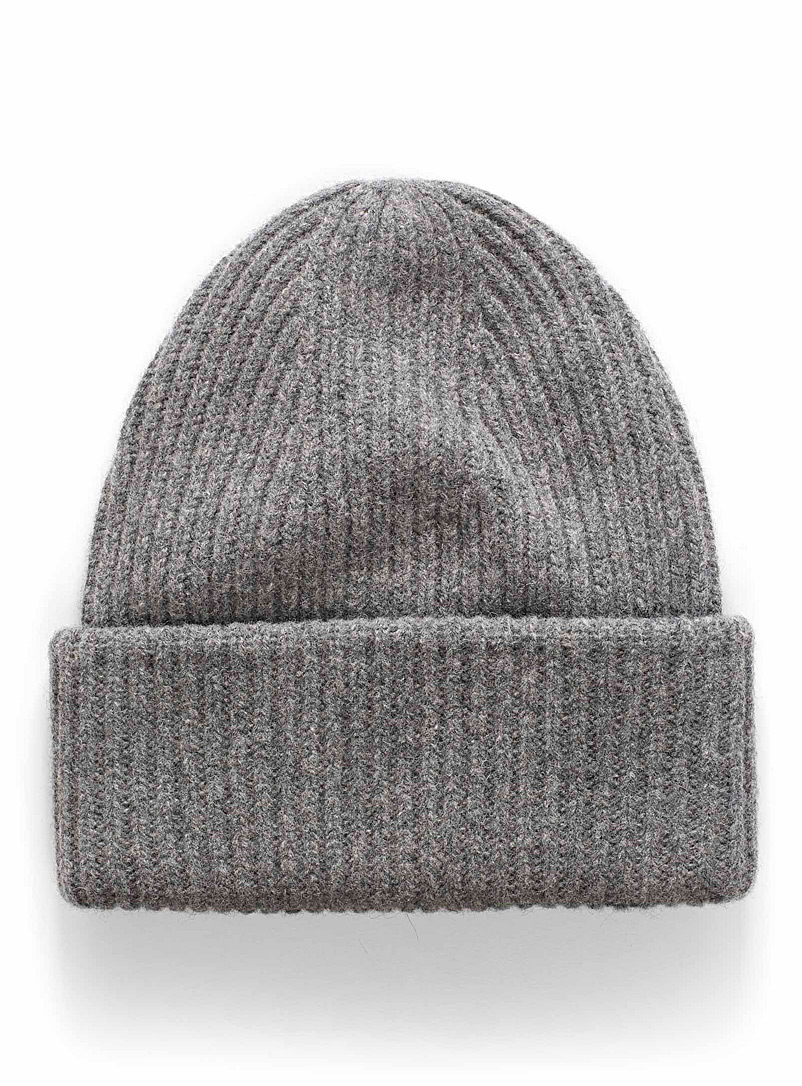 Lambswool ribbed tuque - Tuques - Light Grey