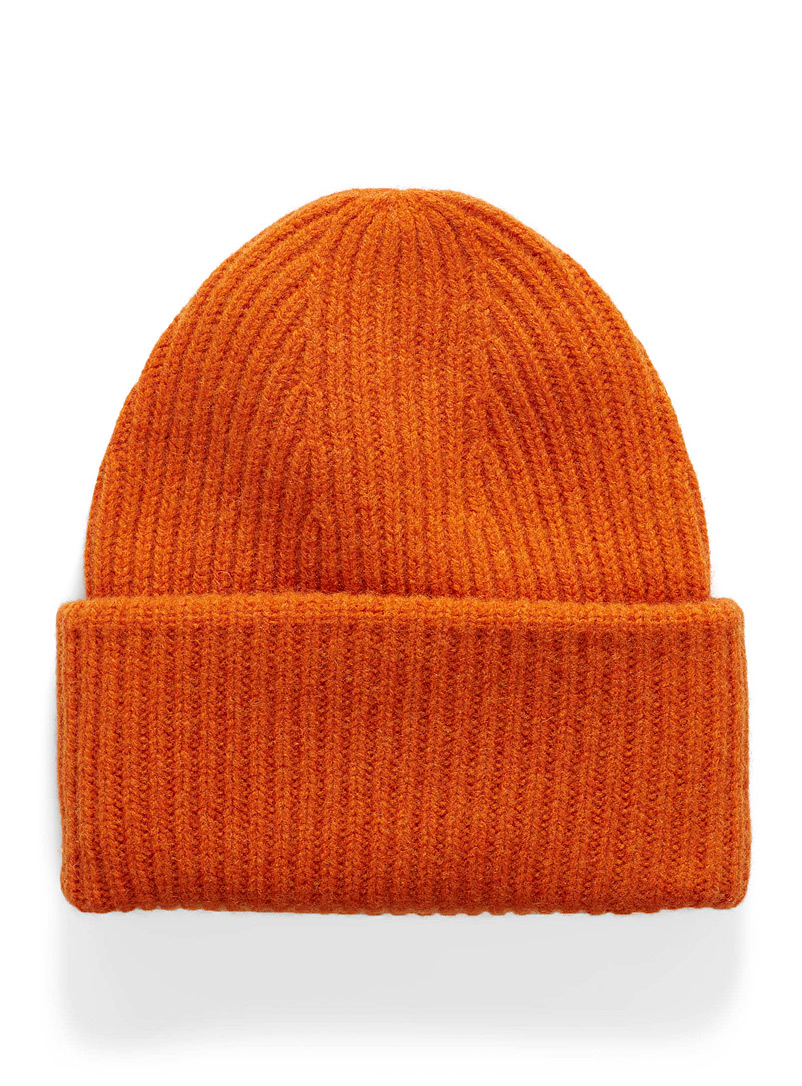 Lambswool ribbed tuque - Tuques - Orange
