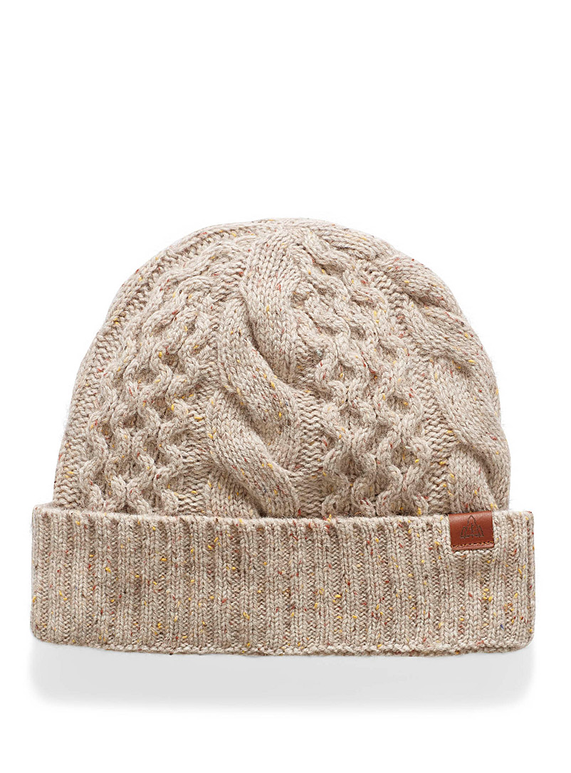 Flecked cable-knit tuque - Tuques - Patterned Ecru