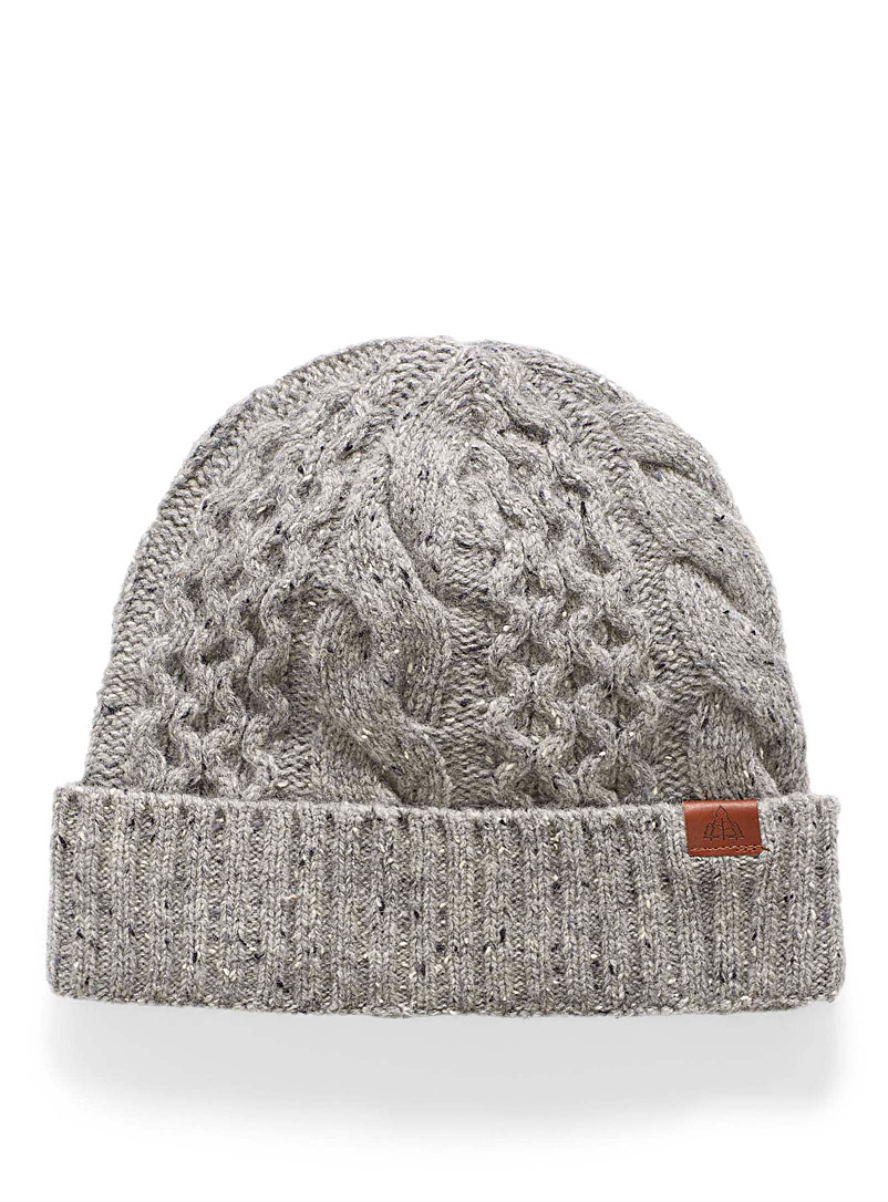 Flecked cable-knit tuque - Tuques - Patterned Grey