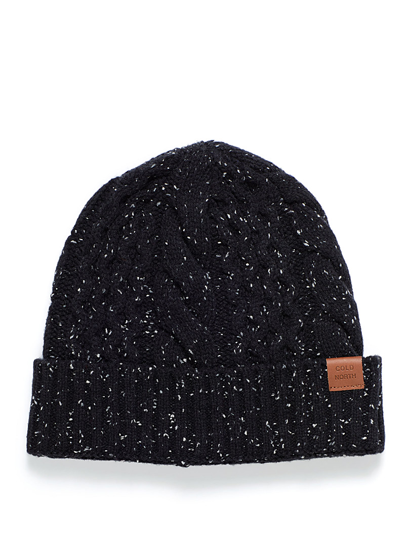 Flecked cable-knit tuque - Tuques - Patterned Black