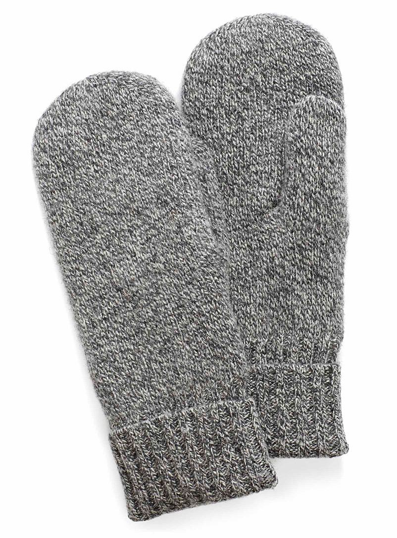 Pure wool knit mittens - Mittens - Patterned Black