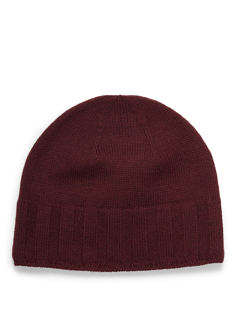 Le 31 Ruby Red Minimalist merino tuque for men