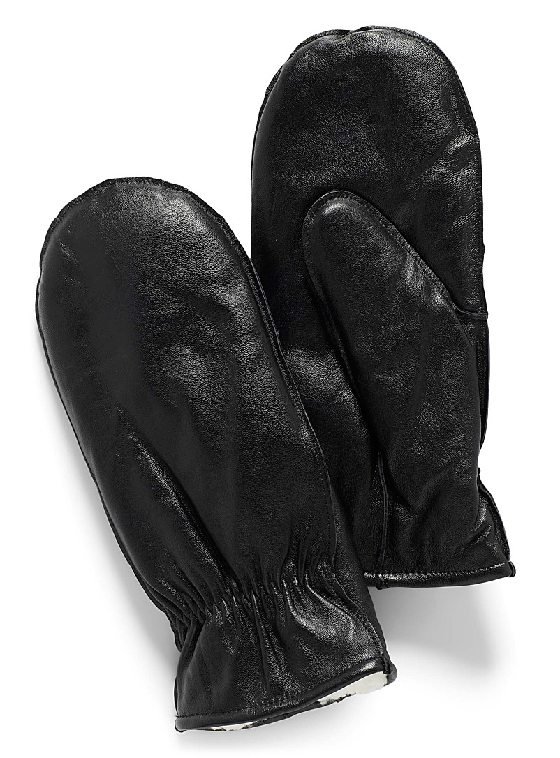 Simons Black Leather and sherpa mittens for women