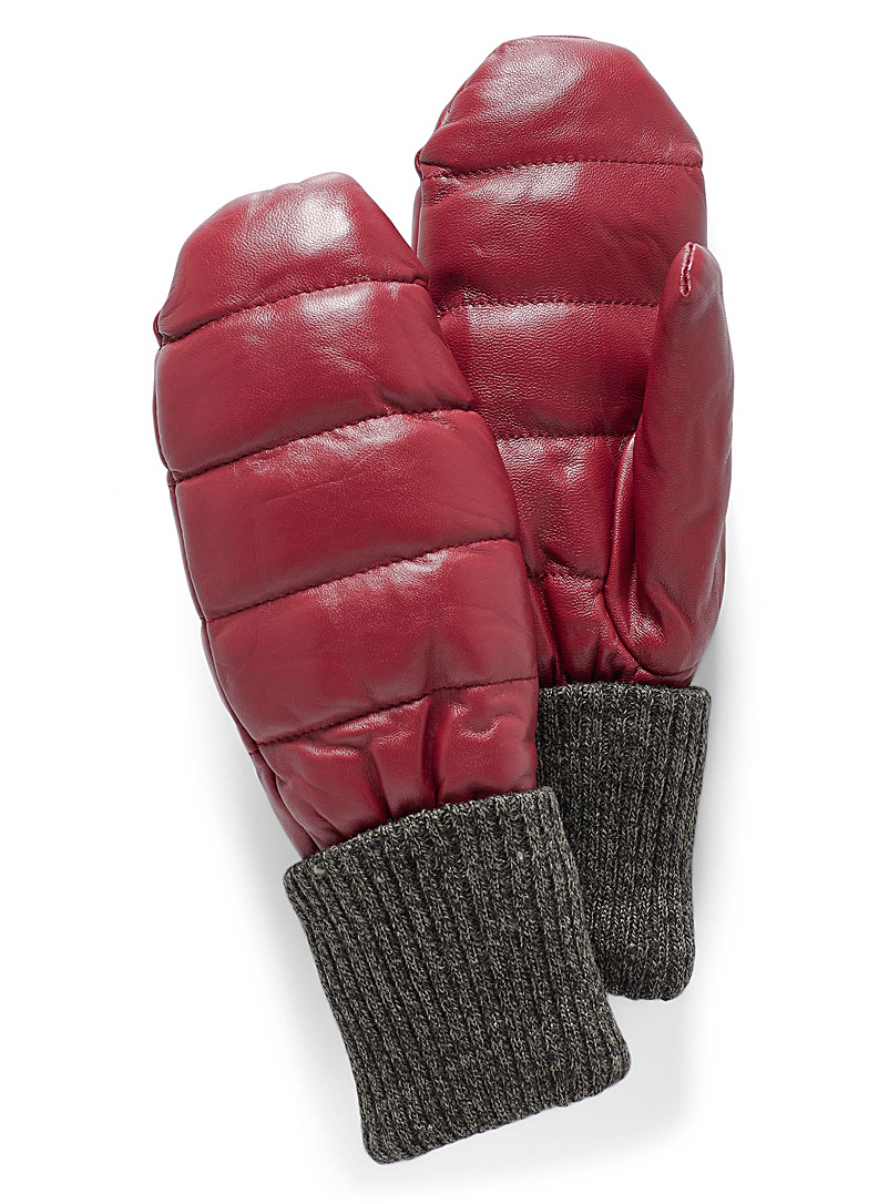 Simons Red Leather and knit quilted mittens for women