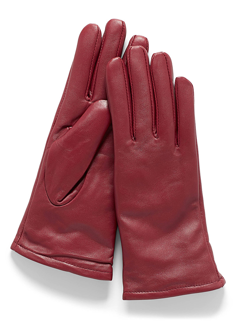Brushed-lining leather gloves