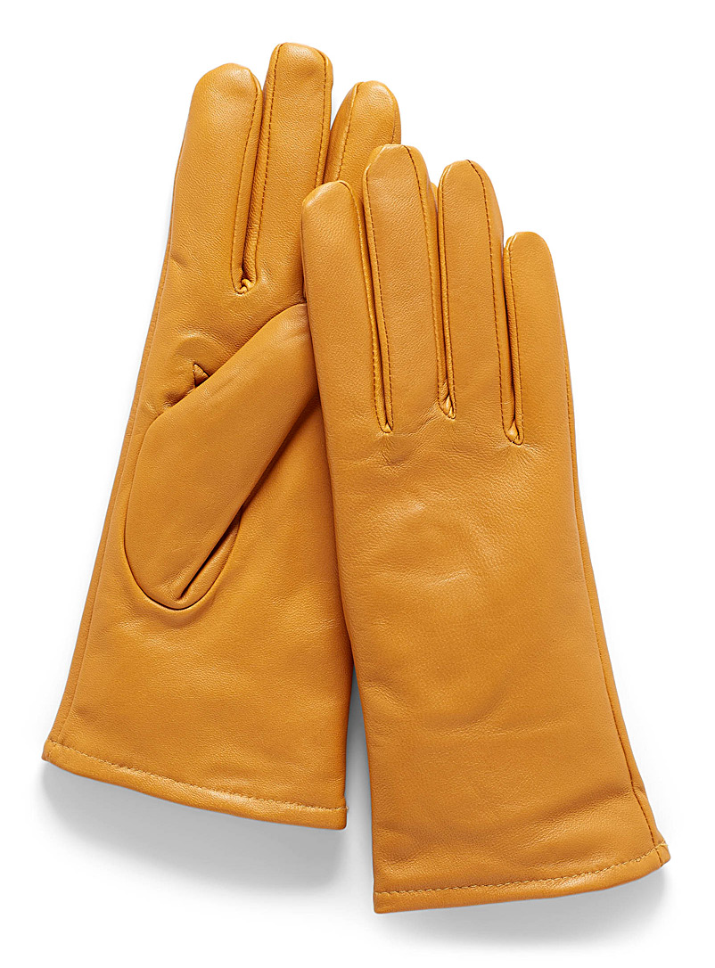 Simons Black Brushed-lining leather gloves for women
