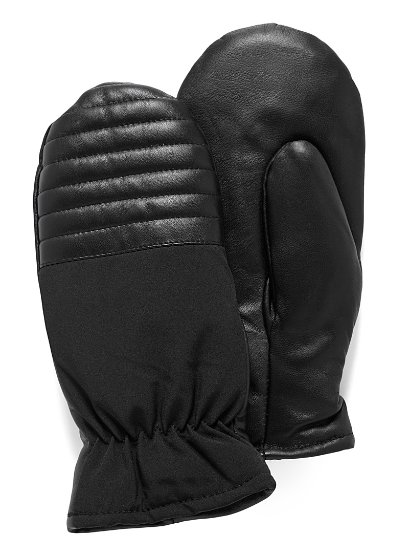 Simons Black Mixed media leather mittens for women