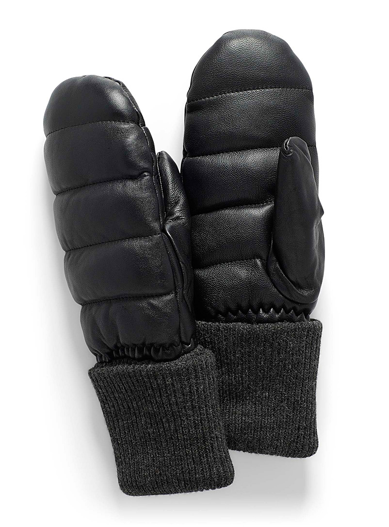 Simons Black Quilted mittens for women