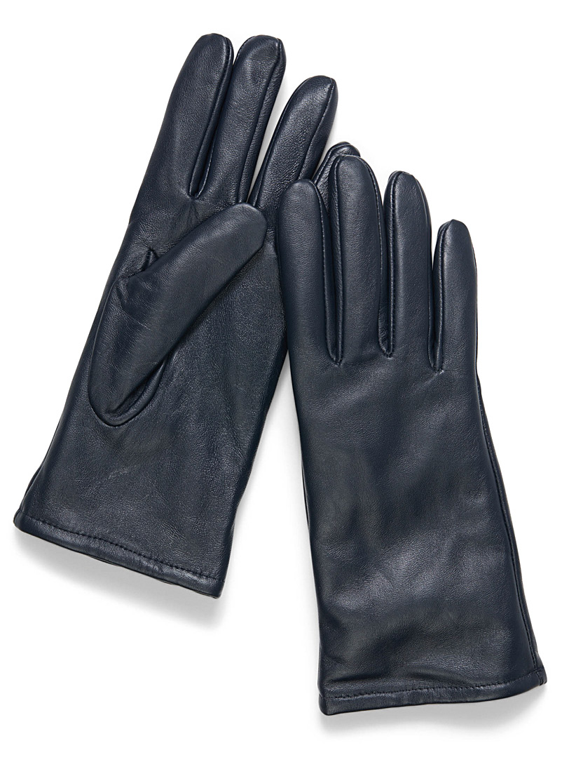 Minimalist solid leather gloves - Leather & Suede - Marine Blue