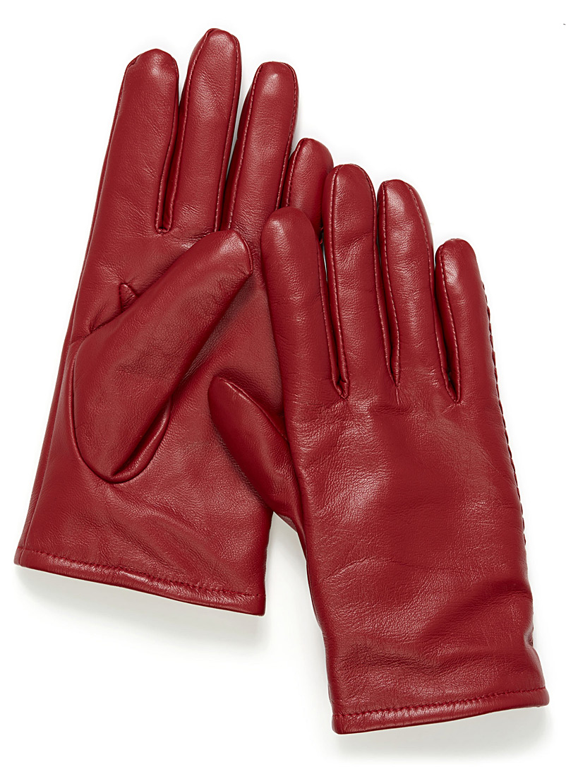 Simons Black Minimalist solid leather gloves for women