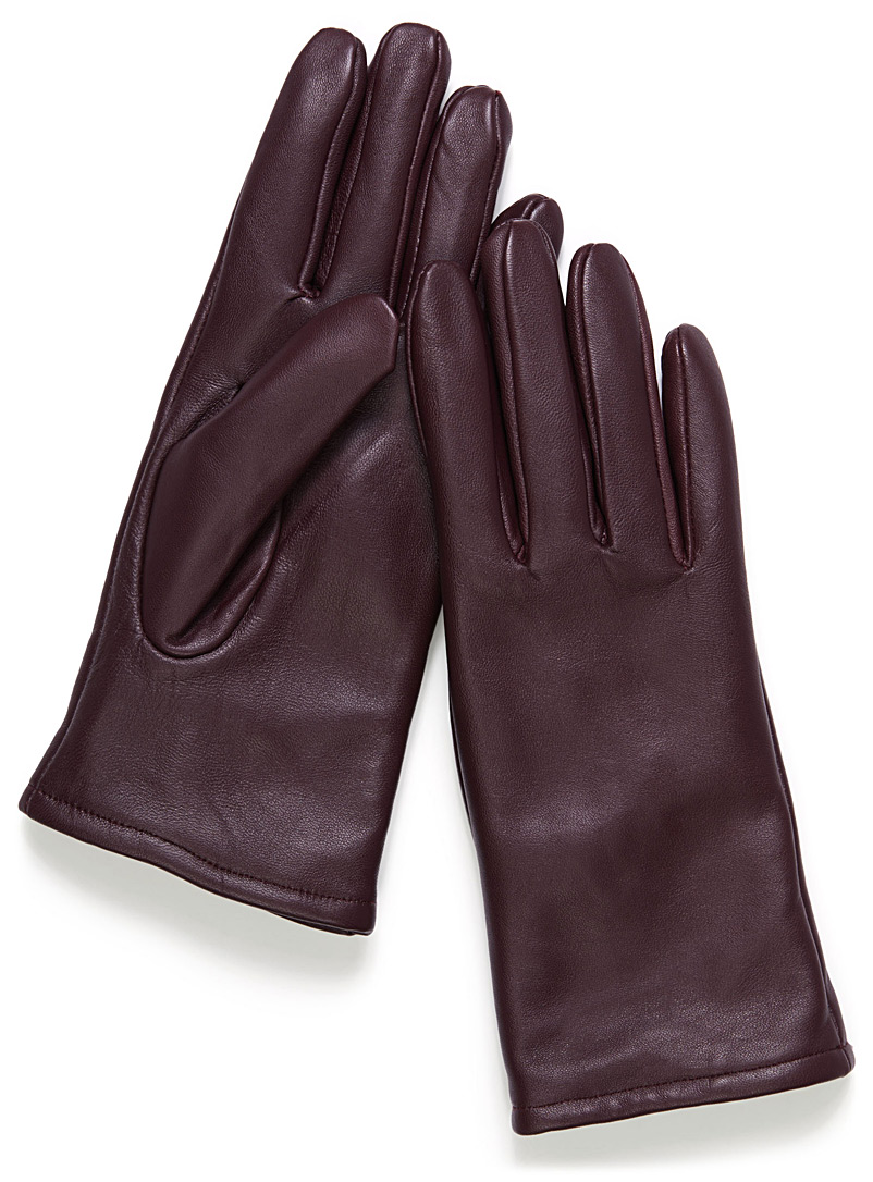 Minimalist solid leather gloves - Leather & Suede - Ruby Red