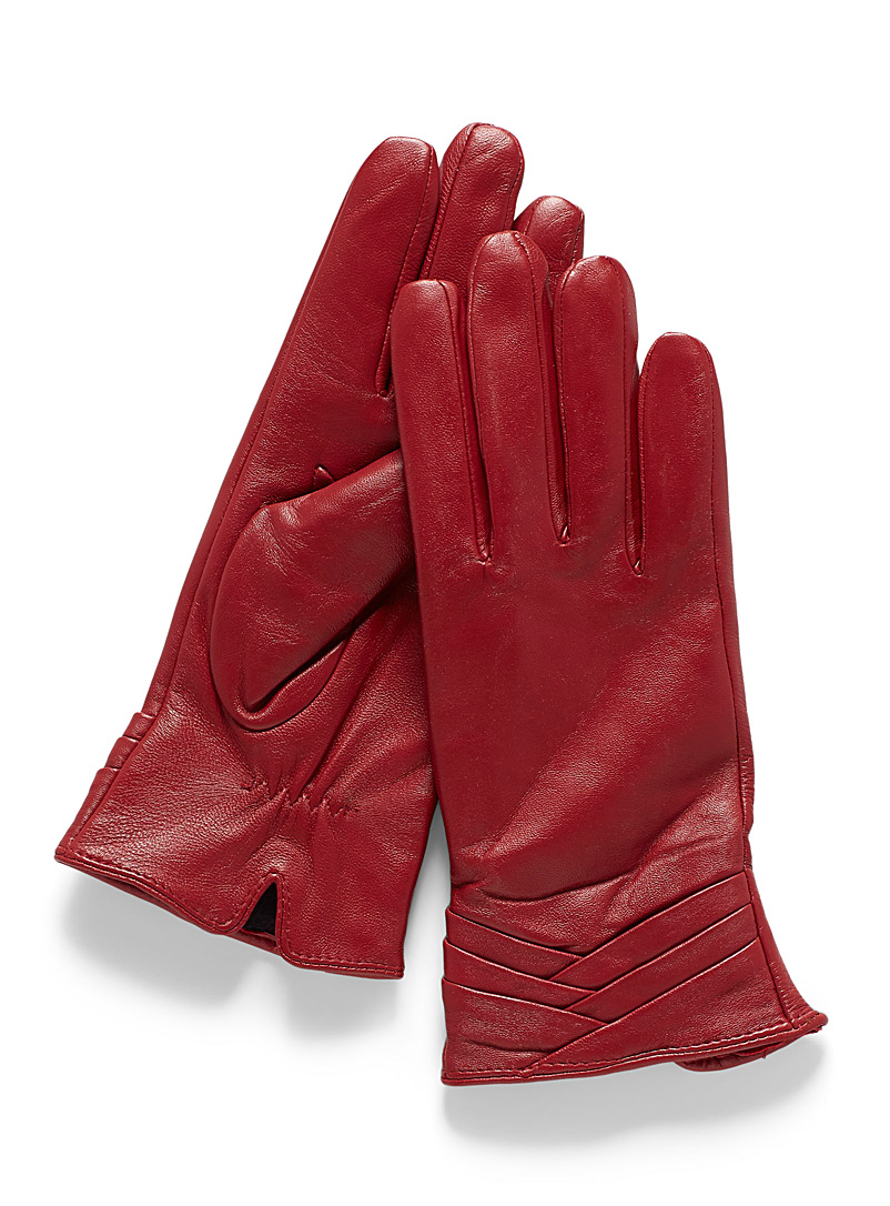 Chevron-cuff leather gloves - Leather & Suede - Red